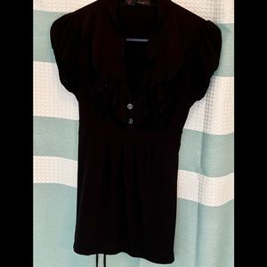 Black ruffle front tie back blouse